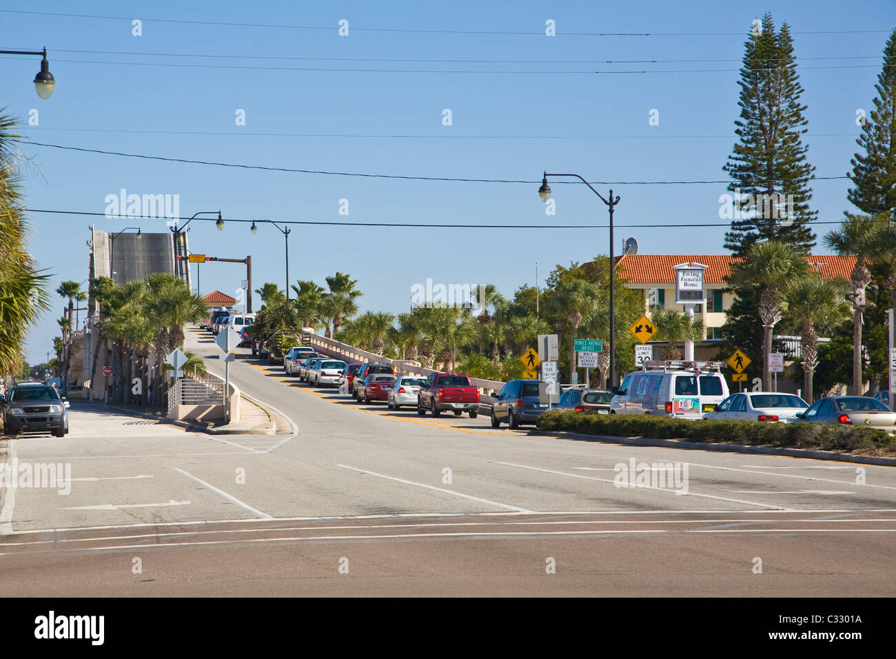 Line of cars waiting for open draw bridge in Venice Florida Stock ...