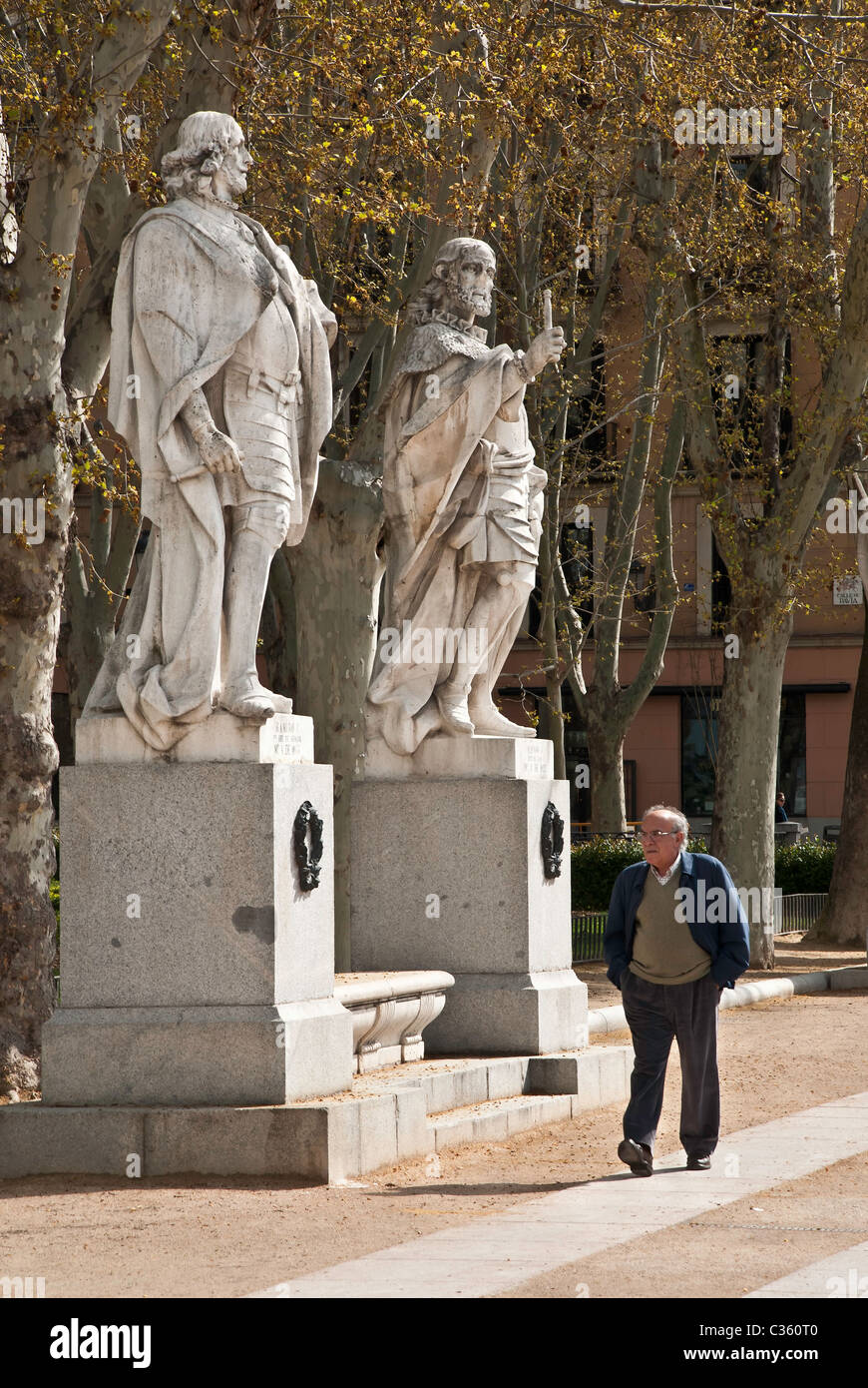 Statues In the Plaza de Oriente next to the Palacio Real , Madrid ...