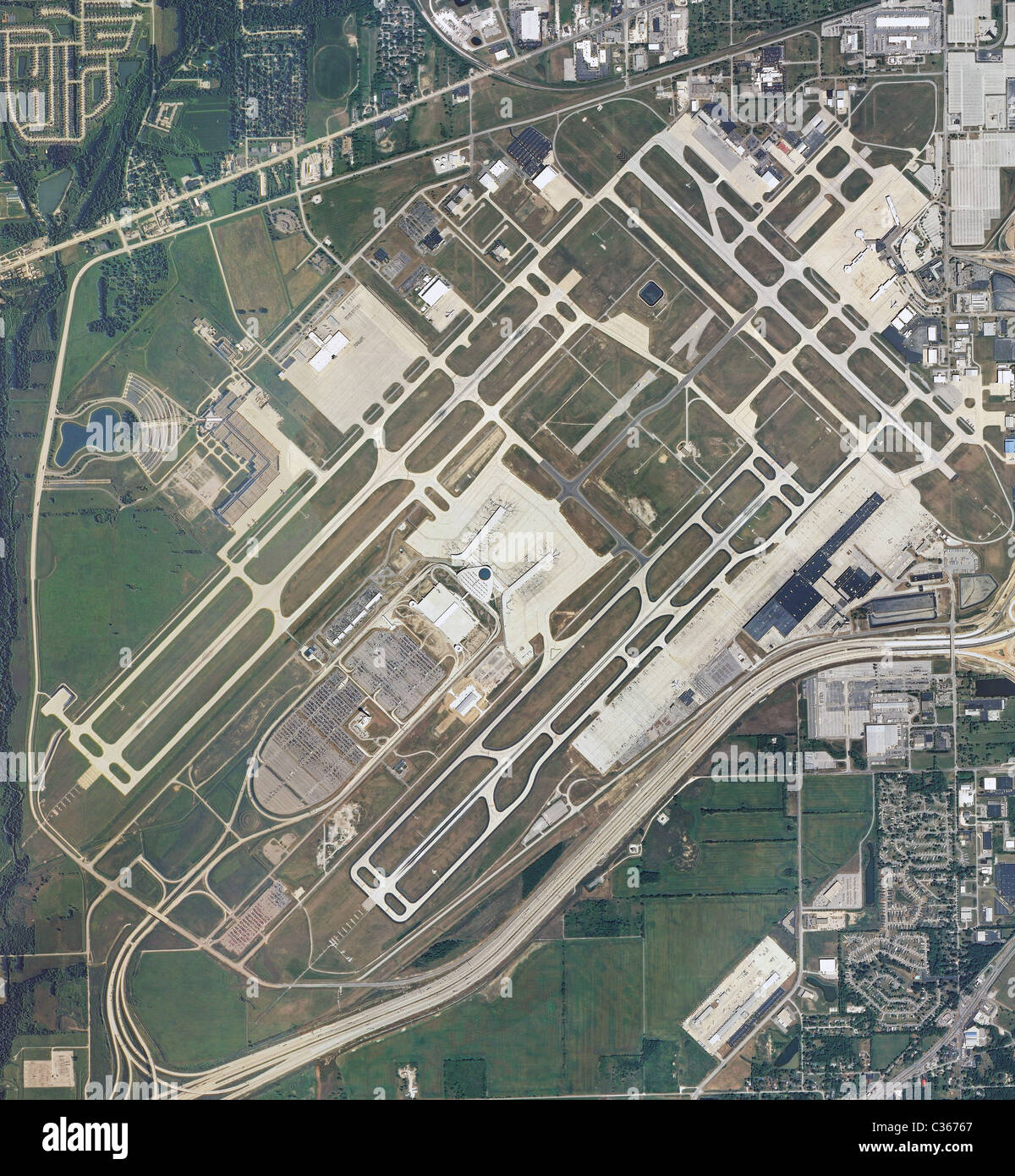 Aerial Map View Above Indianapolis International Airport Indiana ...
