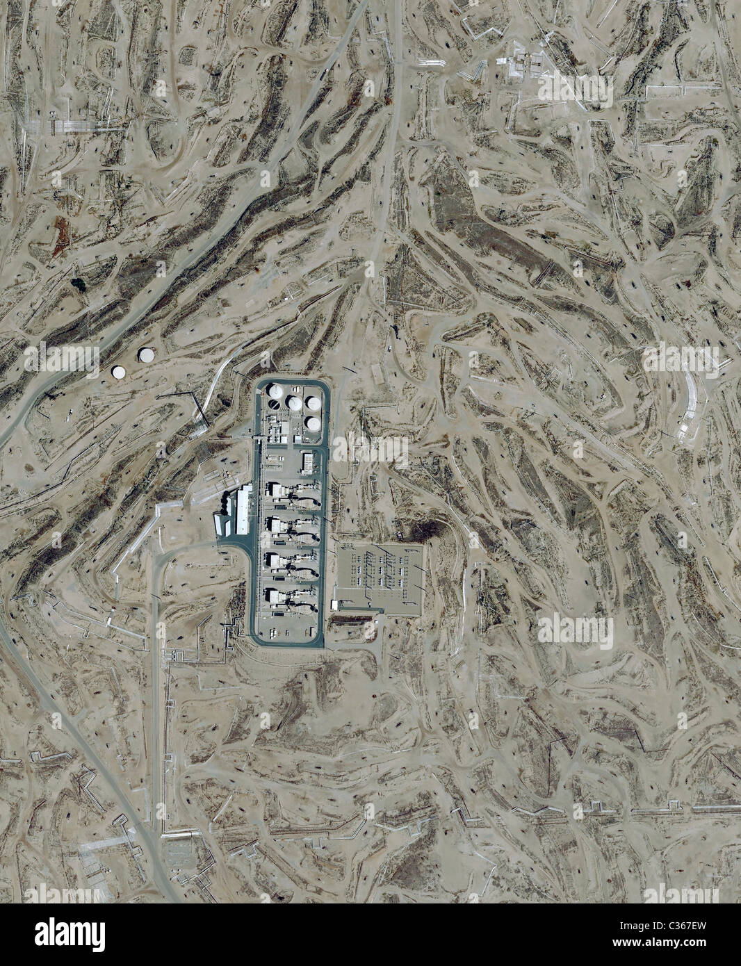 Aerial Map View Above Kern River Oil Field San Joaquin Valley Bakersfield Oildale California Stock