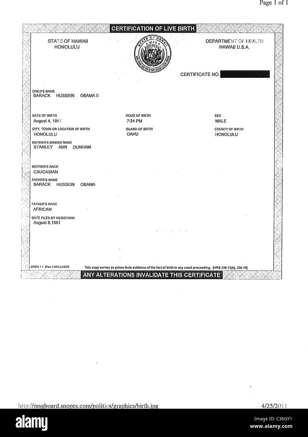 A handout provided by the white house of a copy of president a handout provided by the white house of a copy of president barack obamas short form hawaiian birth certificate aiddatafo Gallery