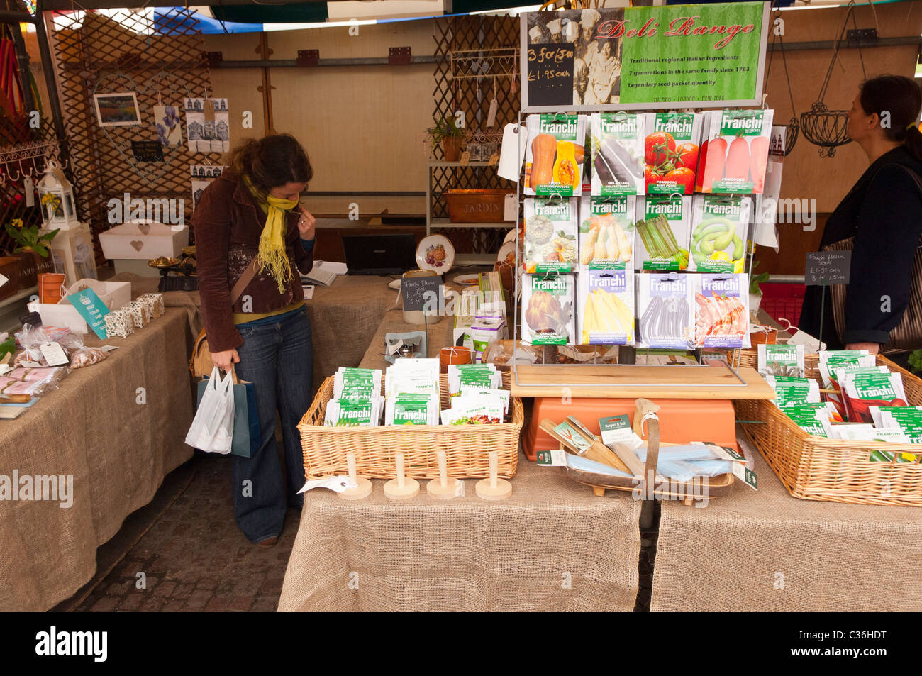 stock photo vegetable seeds for sale on a market stall in cambridge england britain uk