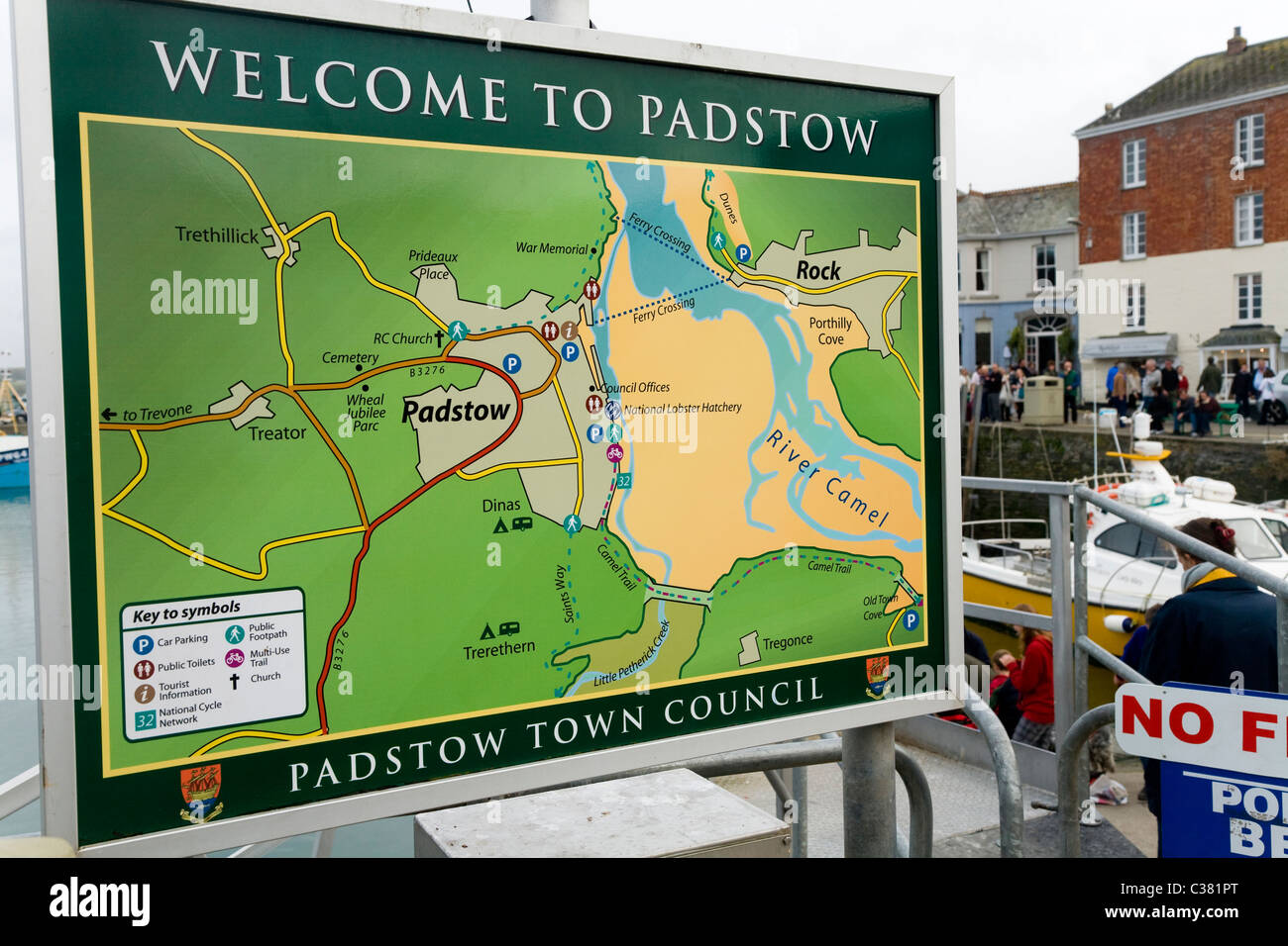 Tourist information street road map plan maps plans sign tourist information street road map plan maps plans sign signs by the harbour at padstow in cornwall uk biocorpaavc Choice Image