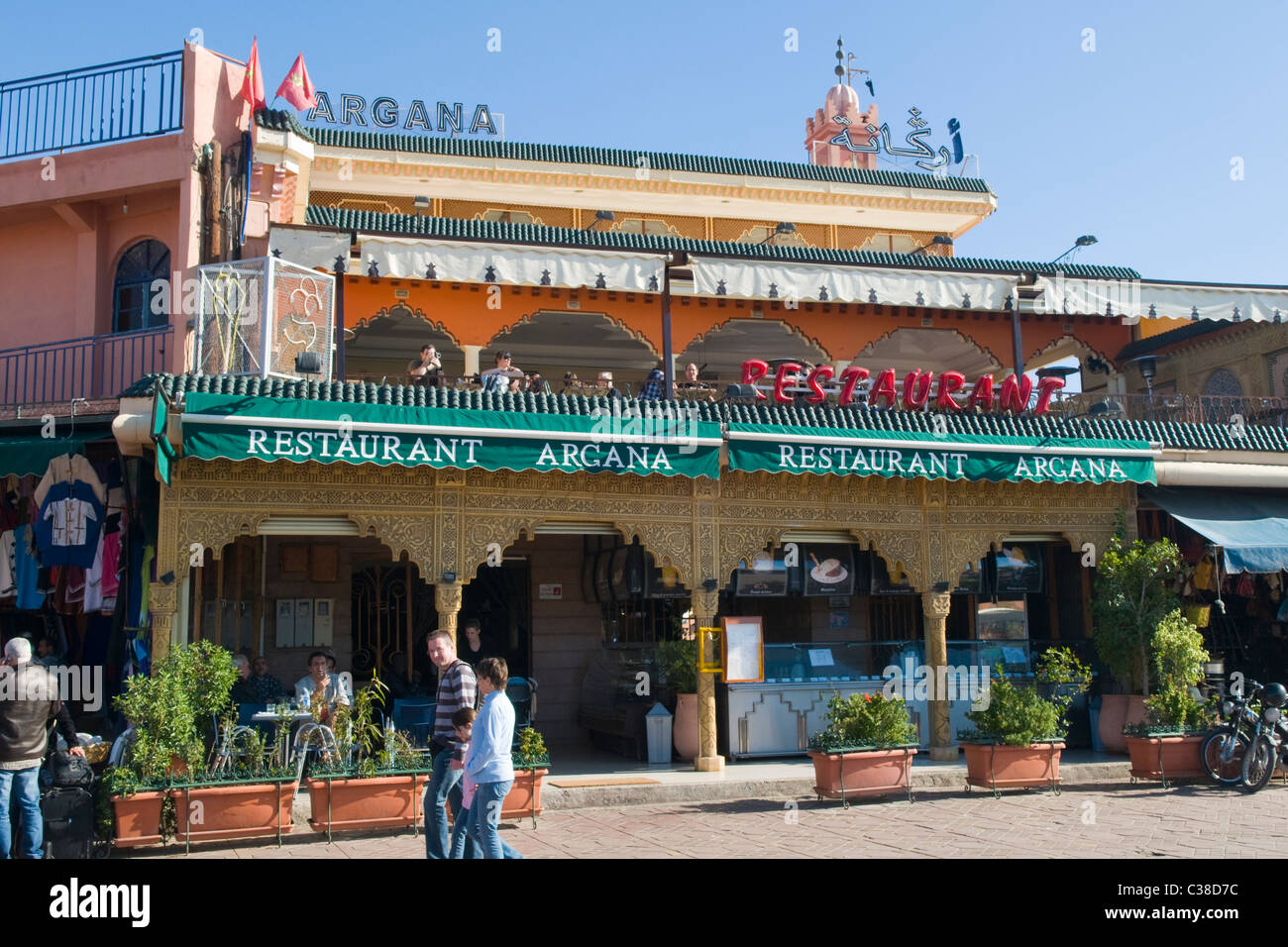 Cafe argana at djemma el fna marrakech morocco stock for Argana moroccan cuisine