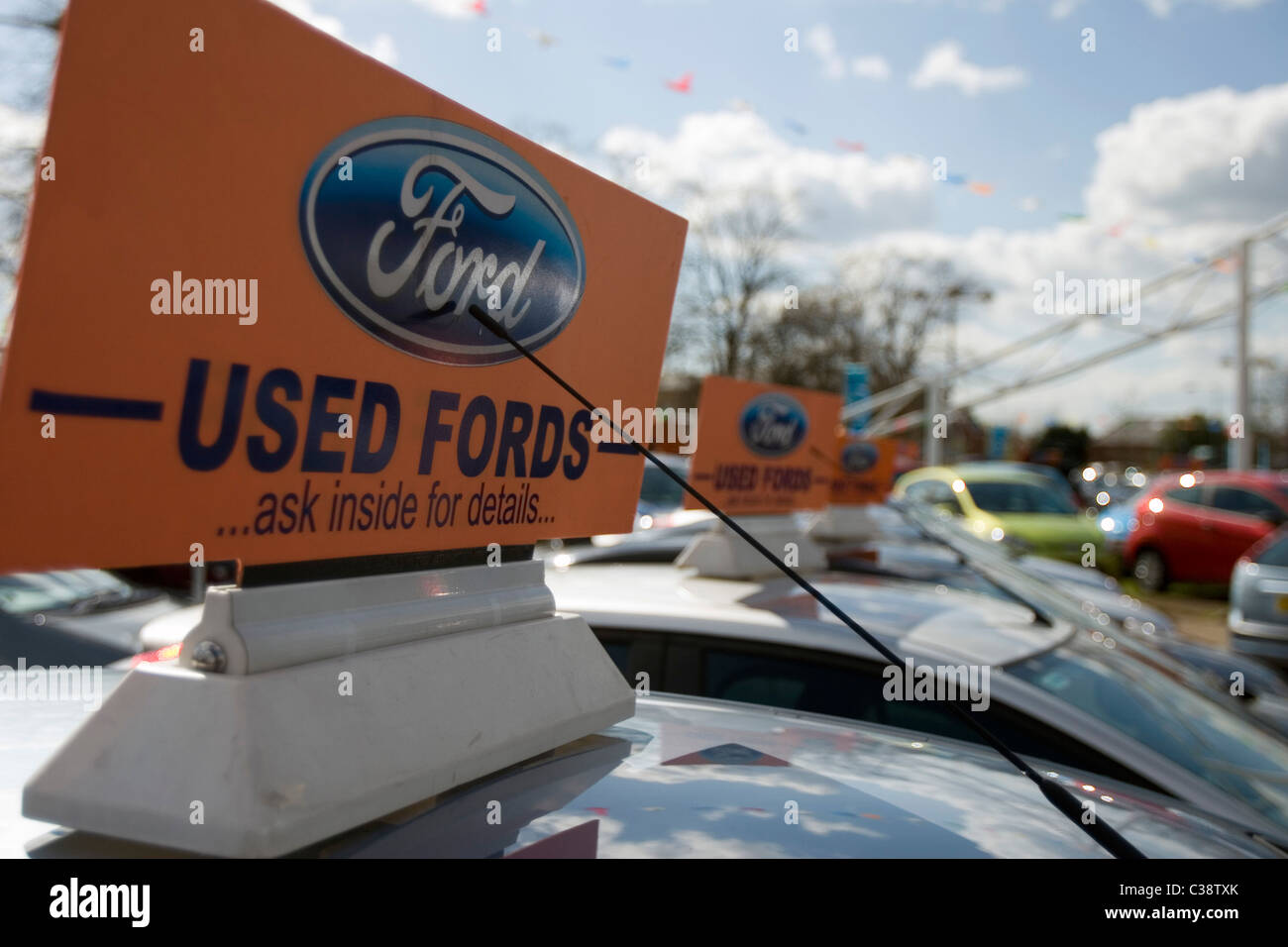 A selection of used Ford motor cars for sale at a dealership in ...