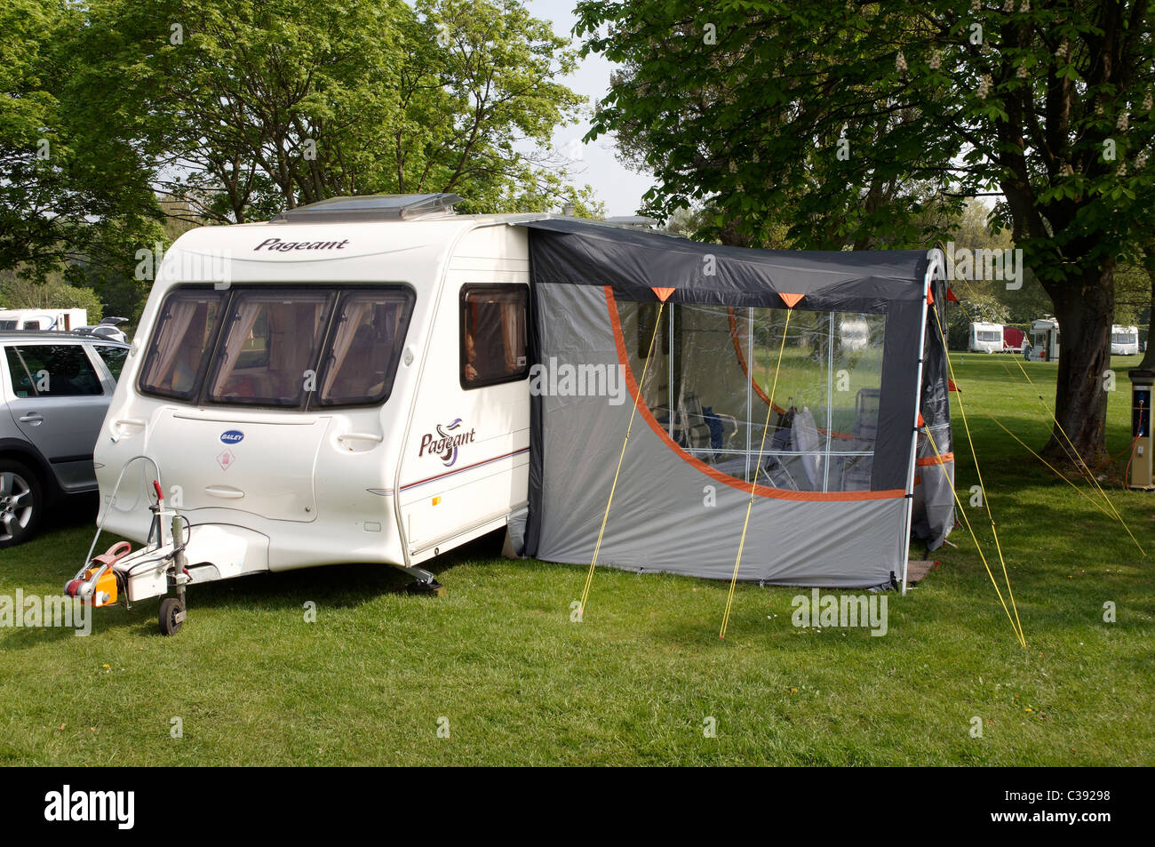 Bailey Pageant Series 3 Caravan With Lightweight Awning On A Grass Pitch At Blackmore Club Site