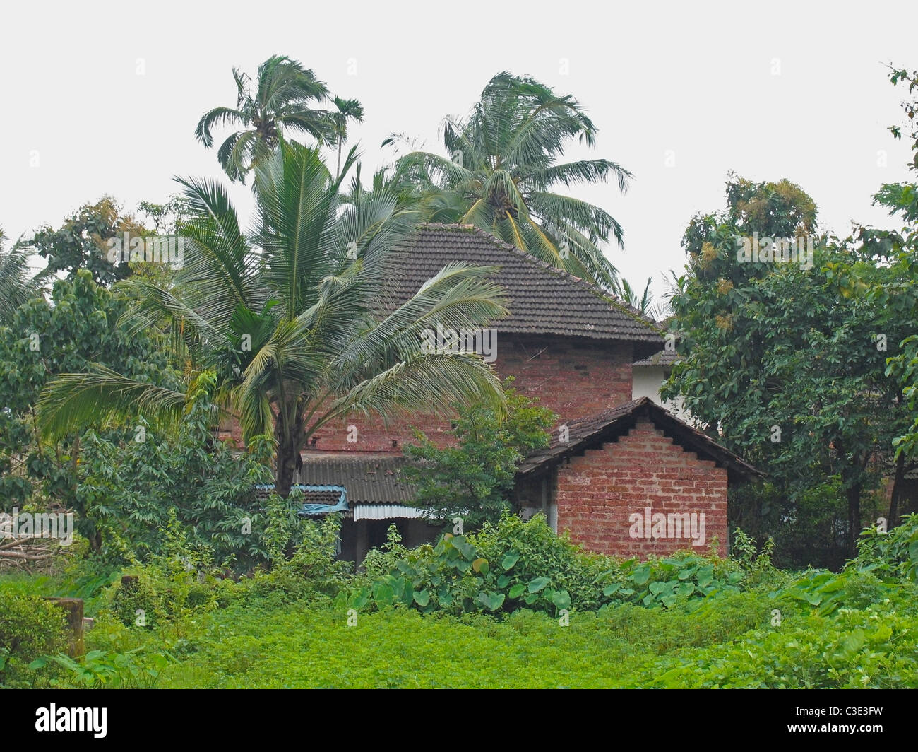 Traditional houses with sloping roof made of manglori tiles kerala stock photo royalty free - Traditional houses attic ...