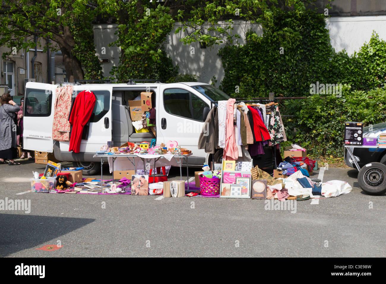 Car boot sale on a car park stock image