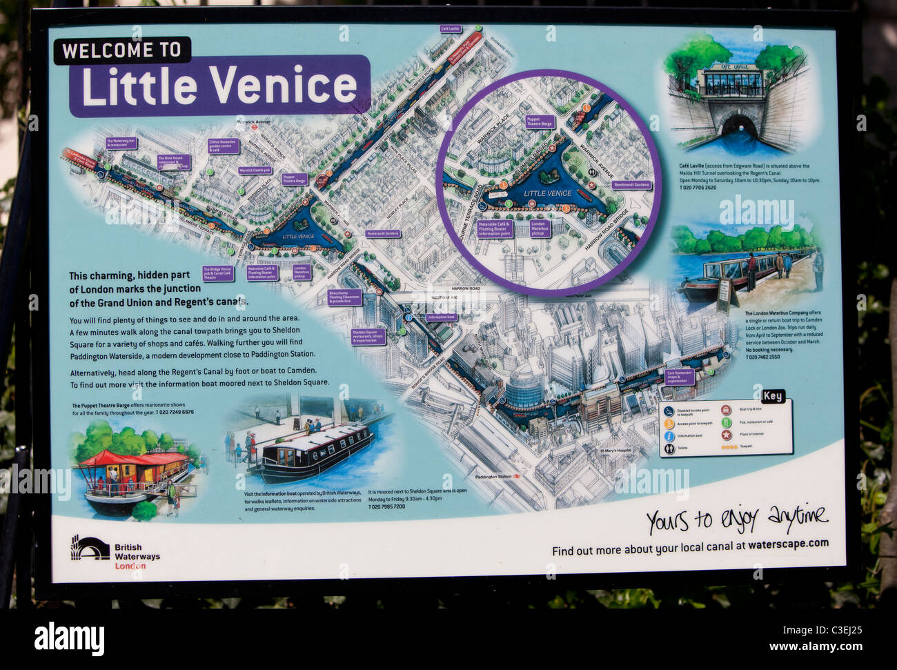 A Sign Map Of Little Venice Regents Canal UK Stock Photo - Little venice map