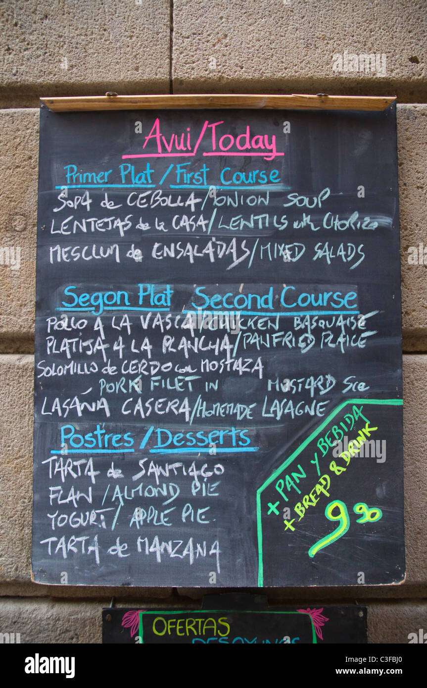 Menu del dia lunch offer in spanish and english outside a restaurant el born district barcelona spain europe