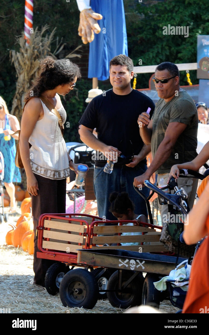 Laurence Fishburne and Gina Torres shopping at the pumpkin patch ...