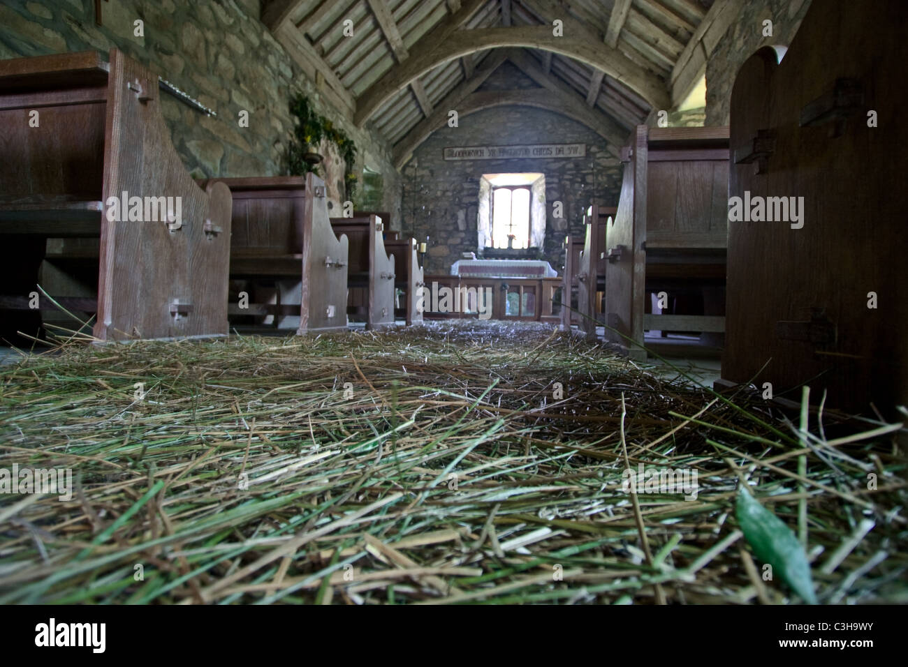 Fragrant Rushes Layered On The Floor Of Pistyll Church