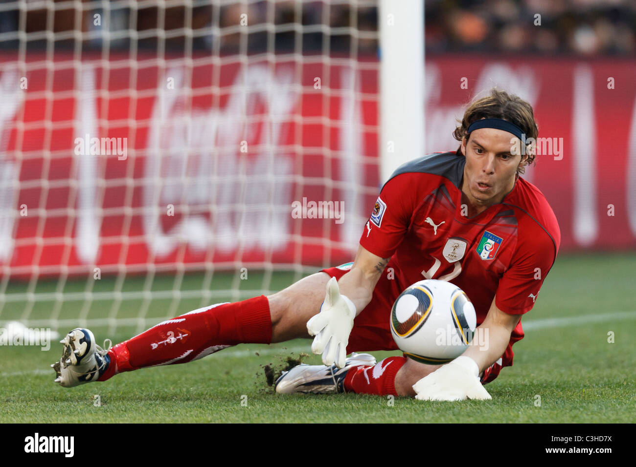 Italy goalkeeper Federico Marchetti makes a save during a 2010