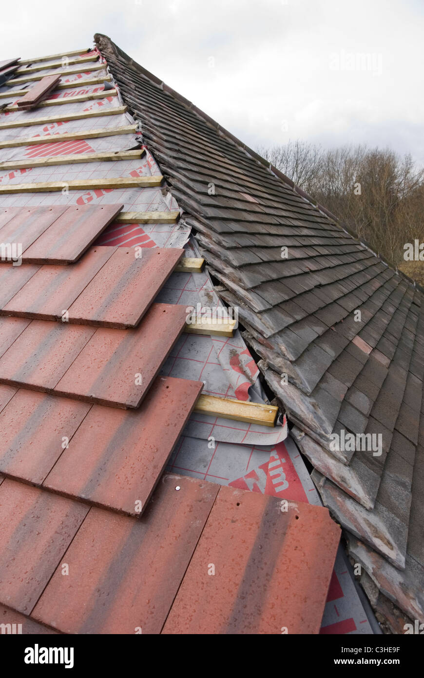 Re Roofing Detail With Old Rosemary Roof Tiles And New Larger Modern Marley  Tile, By Ontop Roofing, Sheffield, England