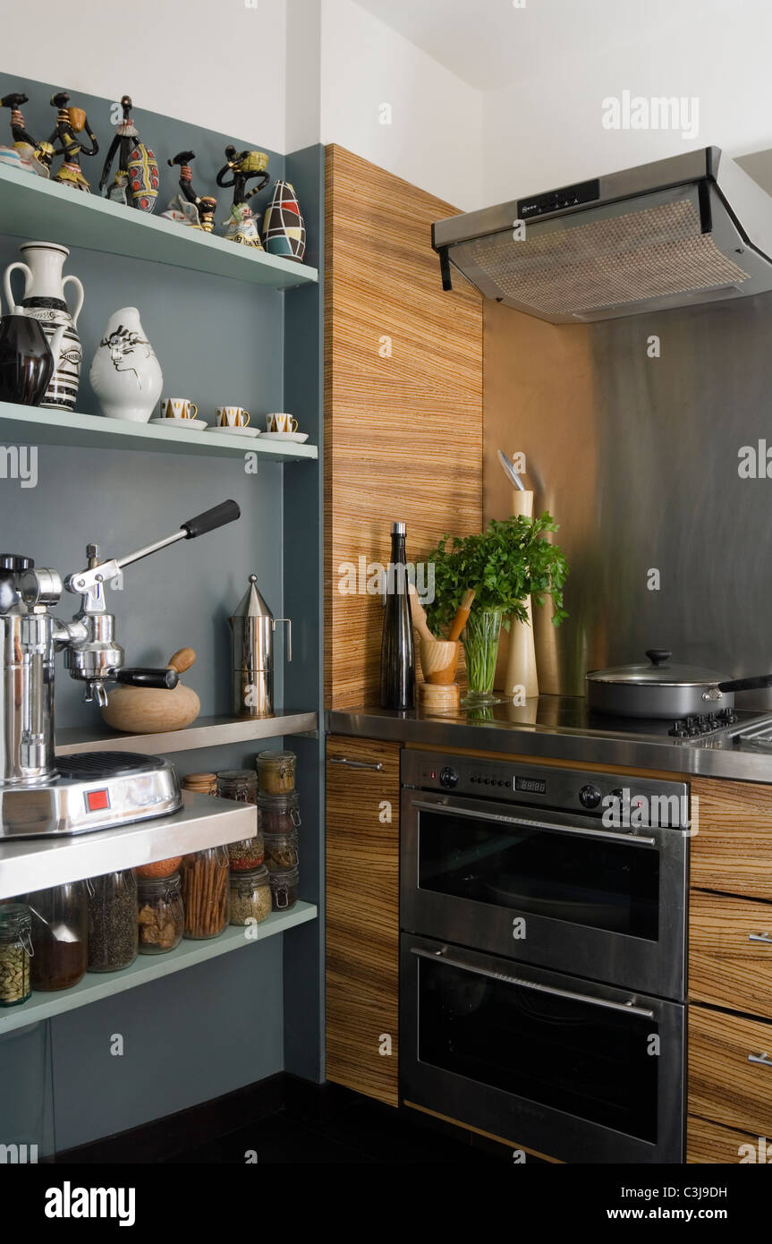 Open Kitchen Oven ~ Open shelving in kitchen with oven and extractor fan stock