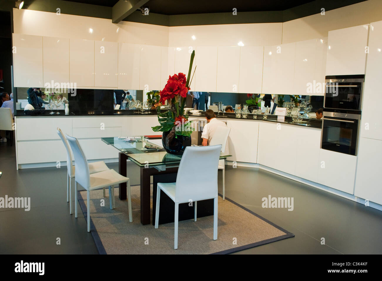 paris france contemporary kitchen interior at trade show modern stock photo royalty free. Black Bedroom Furniture Sets. Home Design Ideas