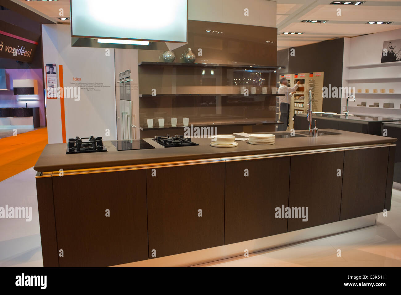 paris france italian design kitchen at industrial trade show