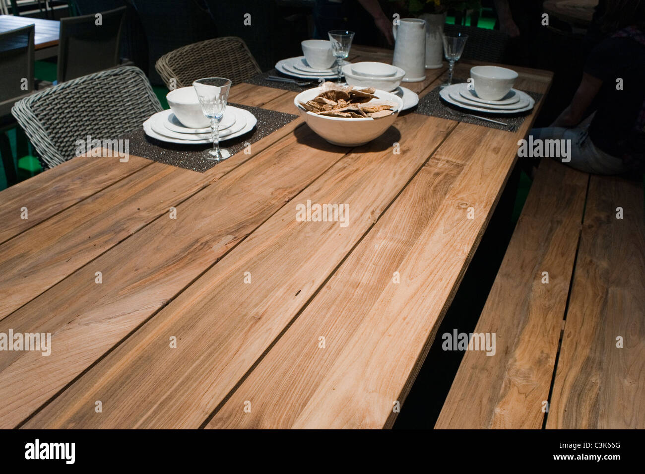 Garden Furniture France paris, france, close up, wooden garden furniture, table, on
