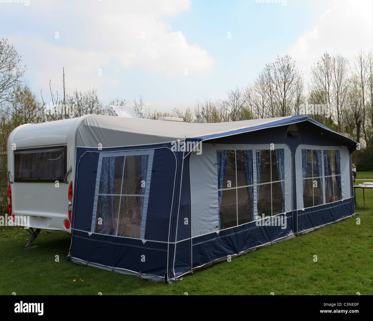 Long Trailer Caravan With Awning Tent Blue Curtains