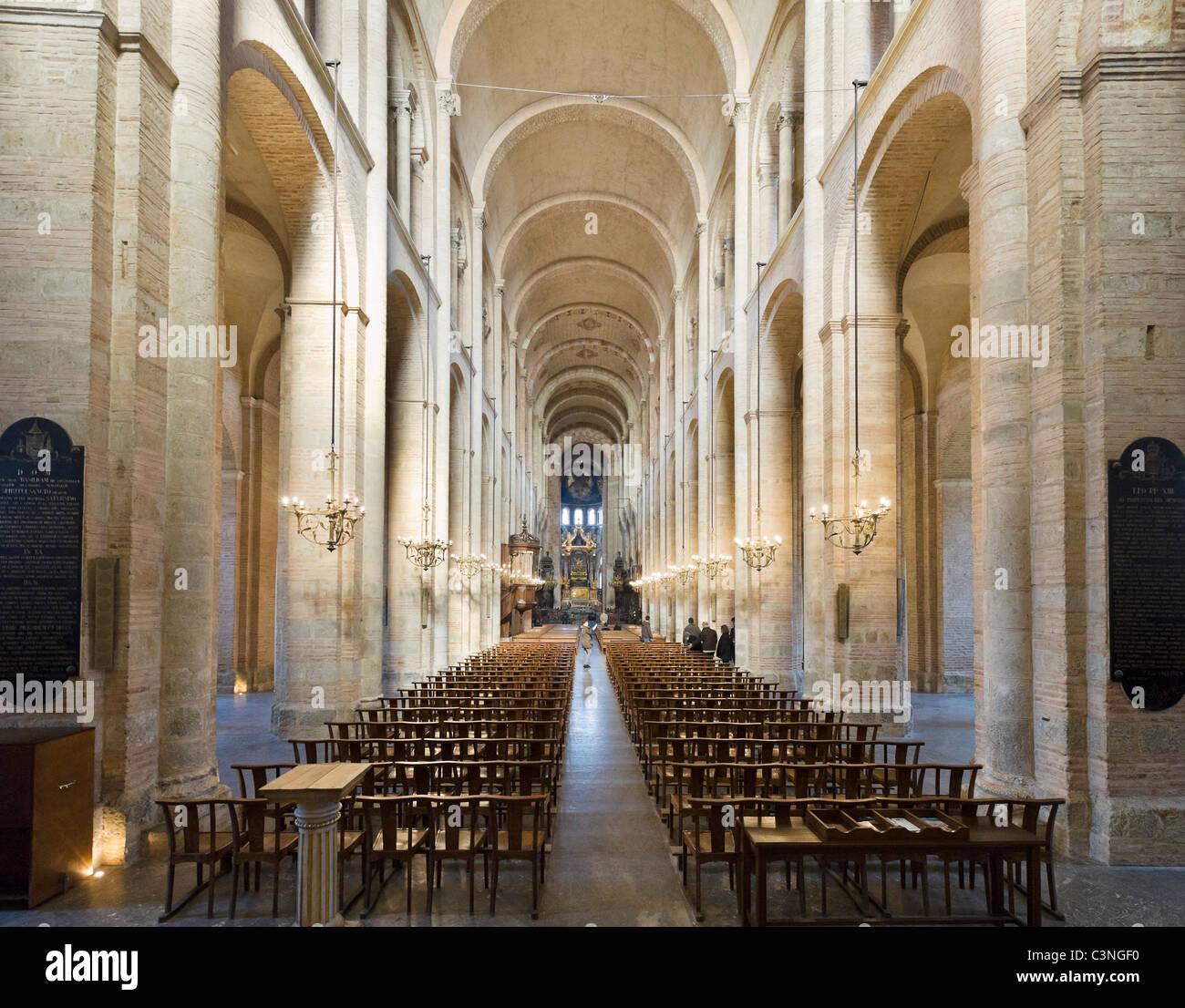 Interior of the 12thC Romanesque Basilica de St Sernin ...