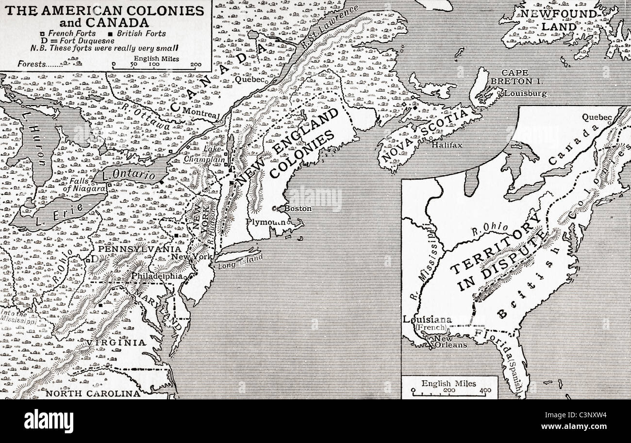 Map Of The American Colonies And Canada Showing The British Forts - Map of american colonies