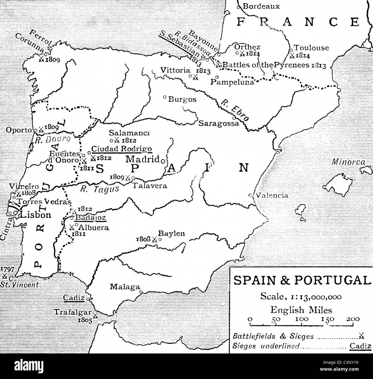 Map Of Spain And Portugal At The Time Of The Peninsular War From - Portugal england map