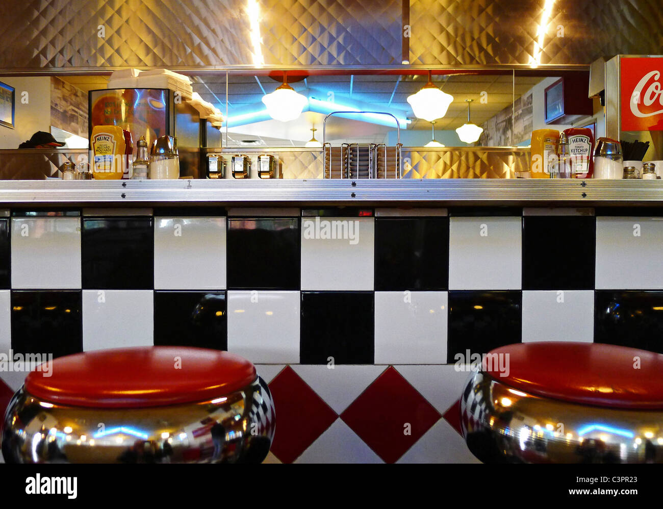 Old style retro diner counter stock photo alamy