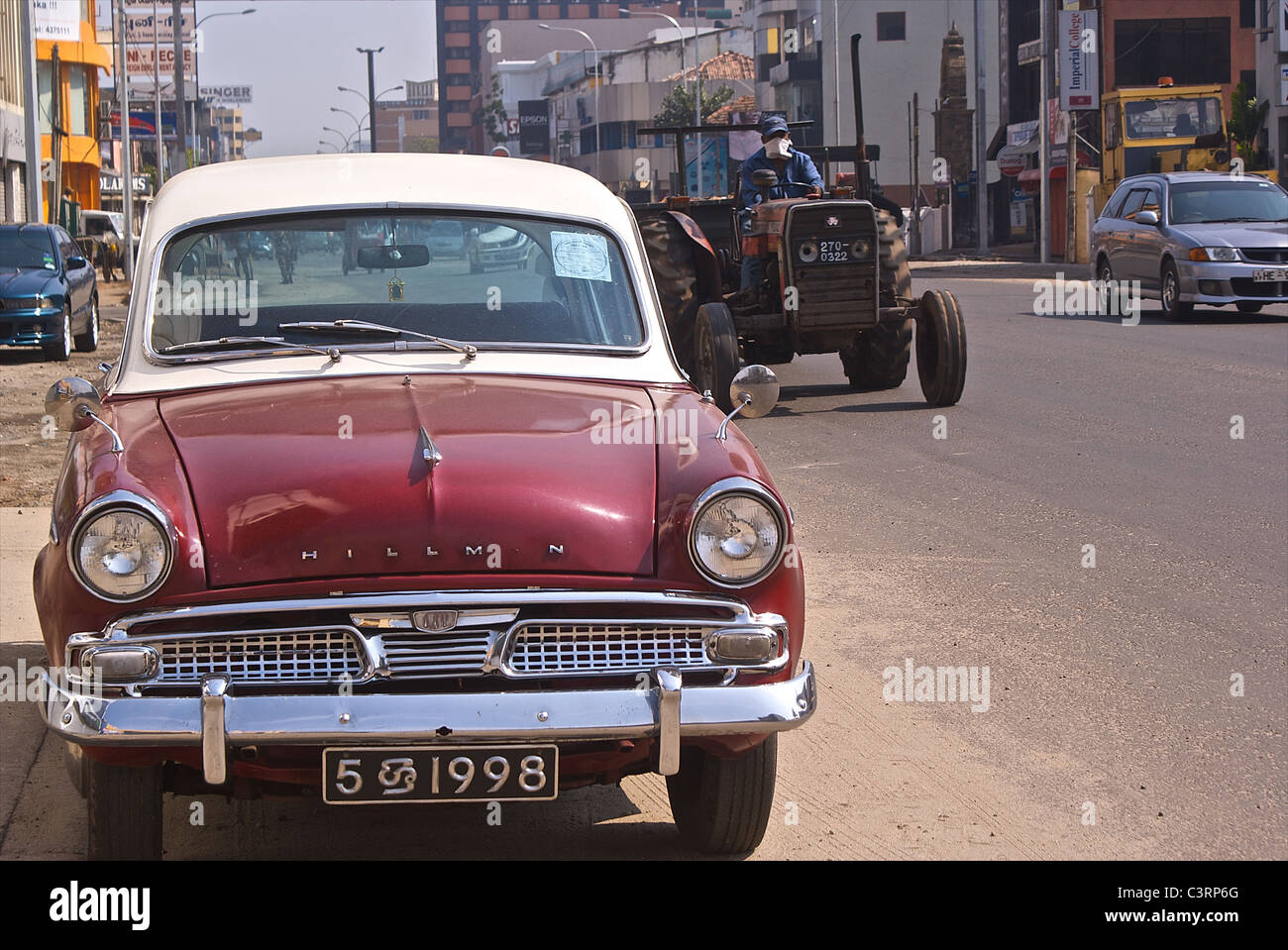 Old Hillman Car And Tractor Galle Road Colombo Sri Lanka Stock