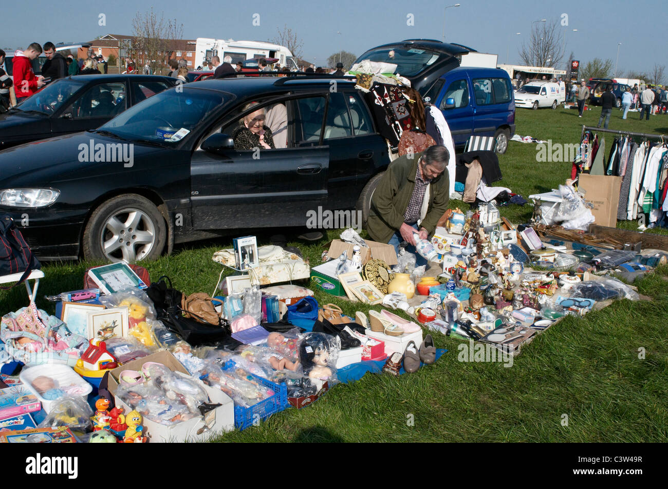 A busy car boot sale in lincolnshire