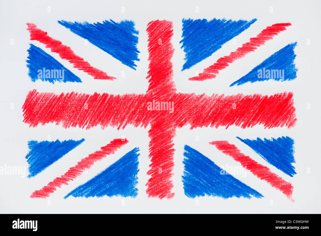 Union Jack Coloured pencil drawing Stock Photo Royalty Free