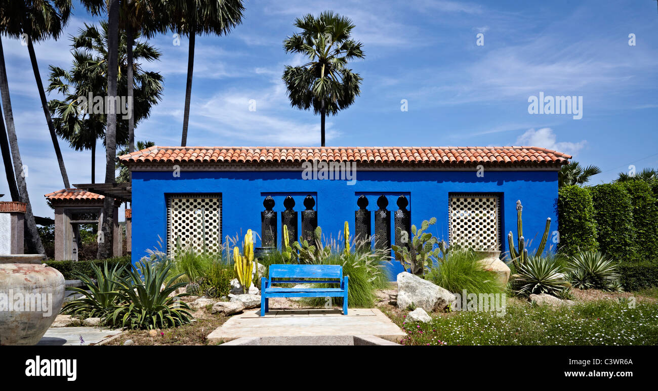 Moroccan style house with vivid blue exterior paint for Moroccan style homes