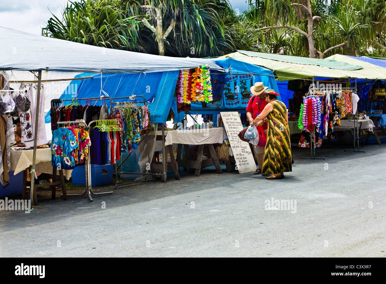 Market stalls for cruise ship tourists in Port Vila ...