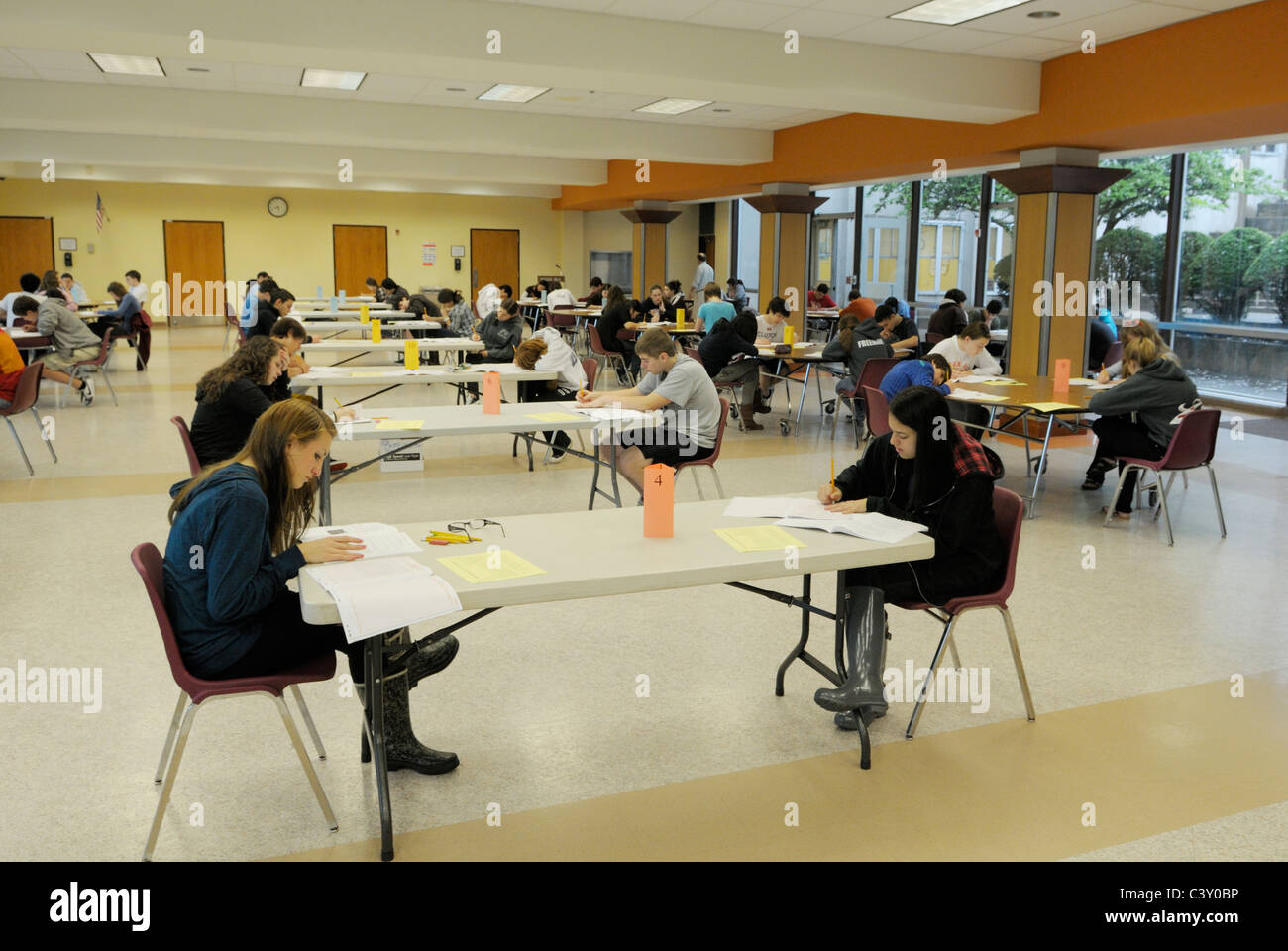 high school students taking a standardized test stock