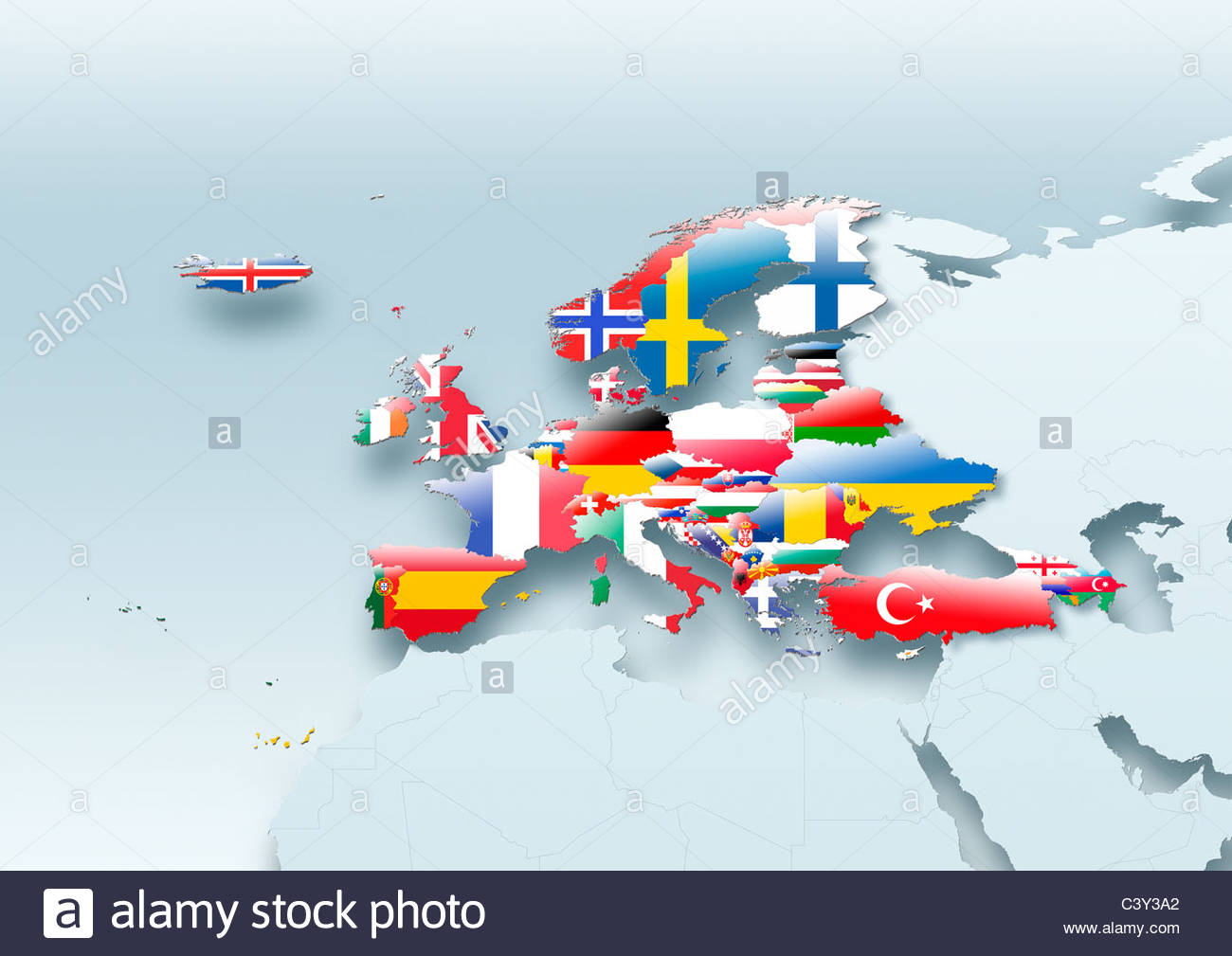 map, Western Europe, flag, flags, European Union, flag, grey Stock ...