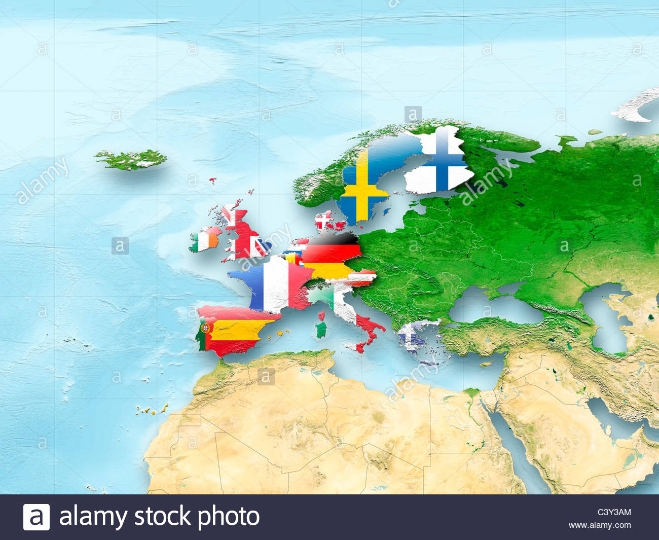 Map Western Europe Flag Flags European Union Flag Political - Western europe