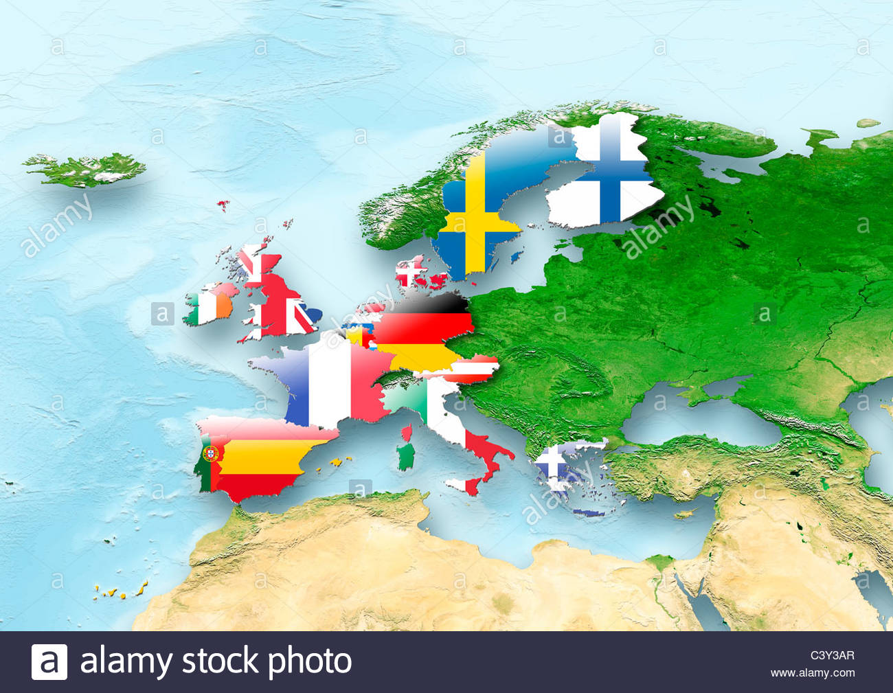 Map Western Europe Flag Flags Eastern Flag Grey Political - Map of western europe