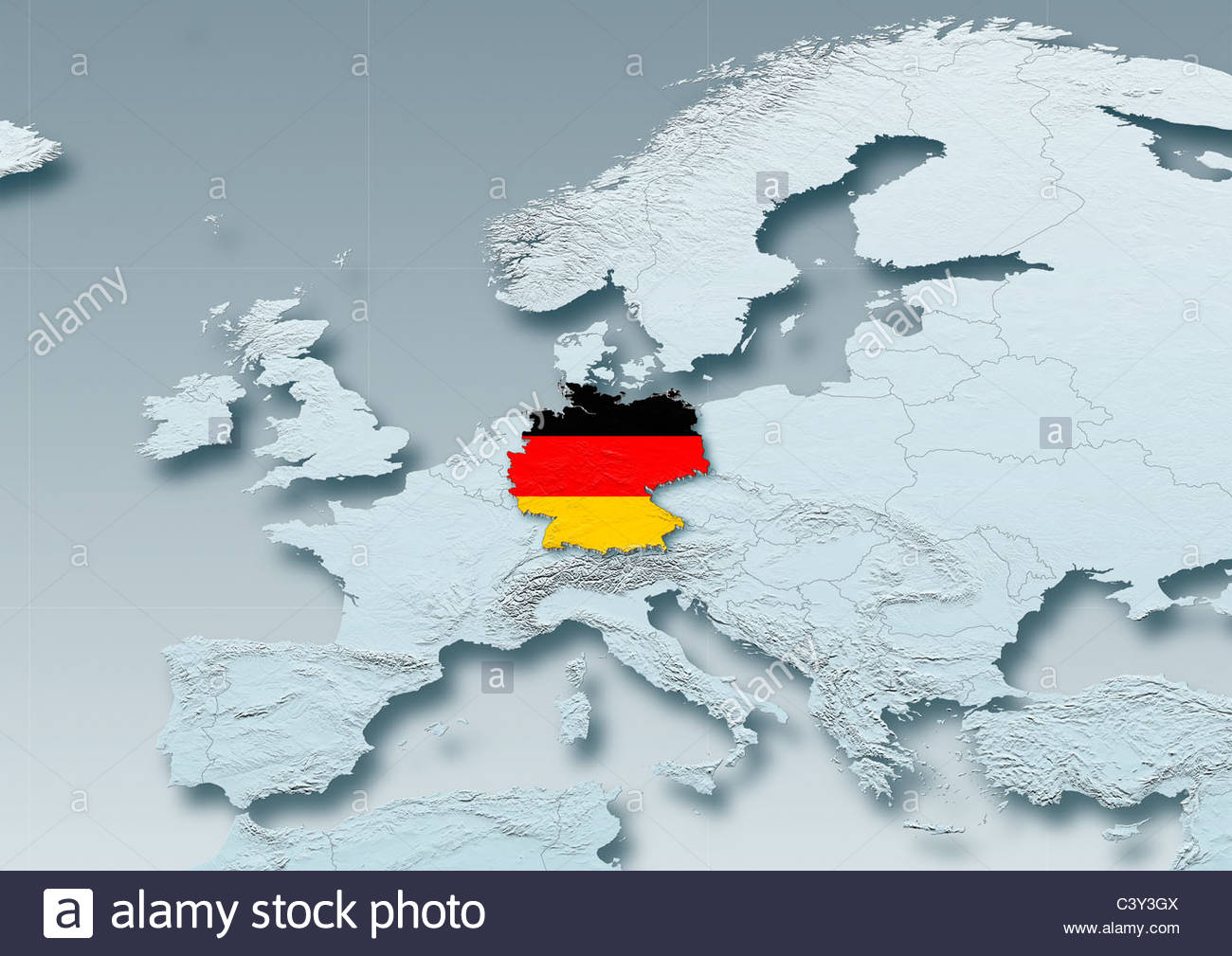 Germany Flag Map Western Europe Grey Physical Grey – Germany in Europe Map