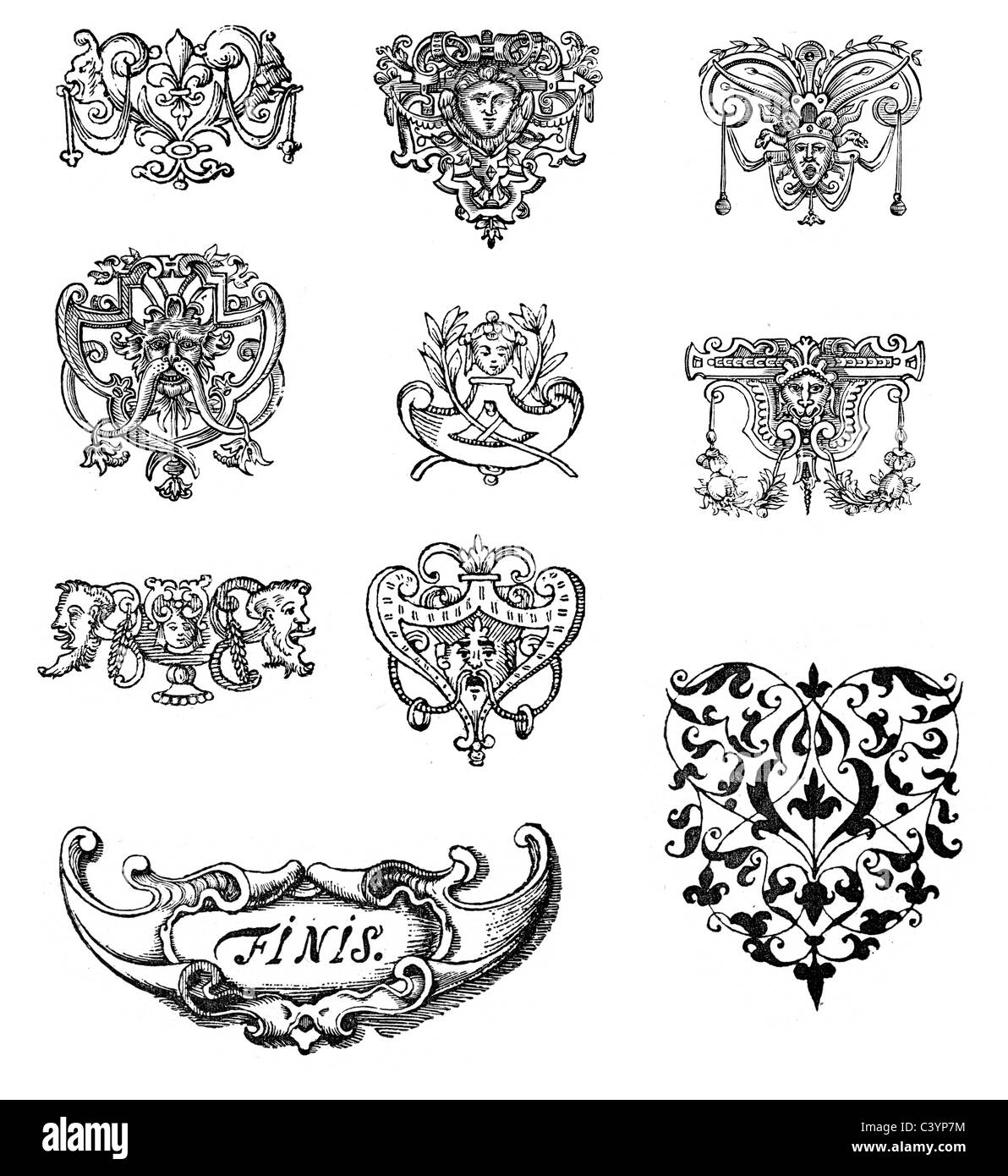 Retro style design elements with a Victorian or Medieval Style