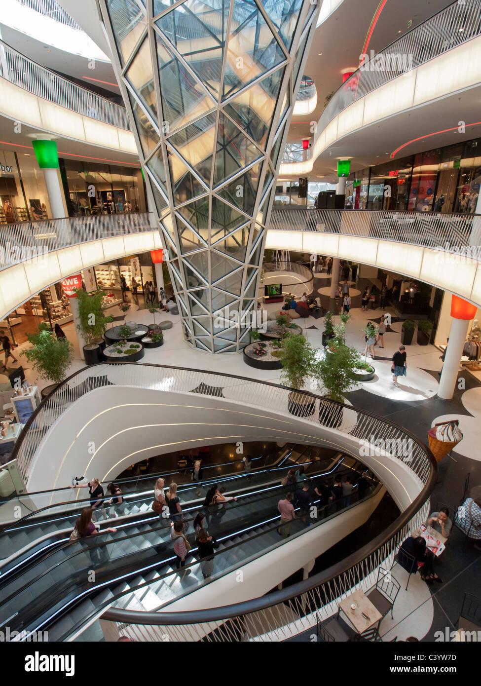 interior of new futuristic architecture of myzeil shopping mall in