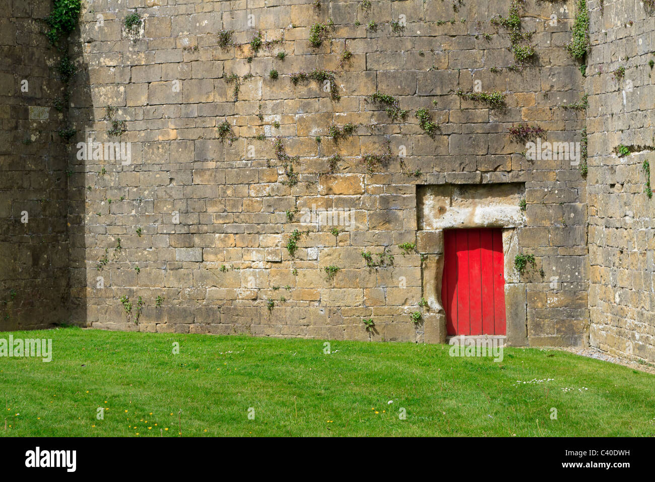 Bolsover Castle Derbyshire. Tiny door in the Stone Walk wall surrounding the Little Castle & Bolsover Castle Derbyshire. Tiny door in the Stone Walk wall ...
