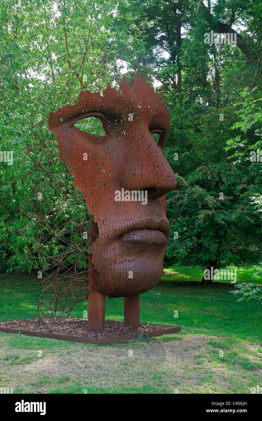 Contemporary Sculpture Garden At Burghley House. Modern Sculpture Of A  Metal Face By Rick Kirby In The Landscape Garden