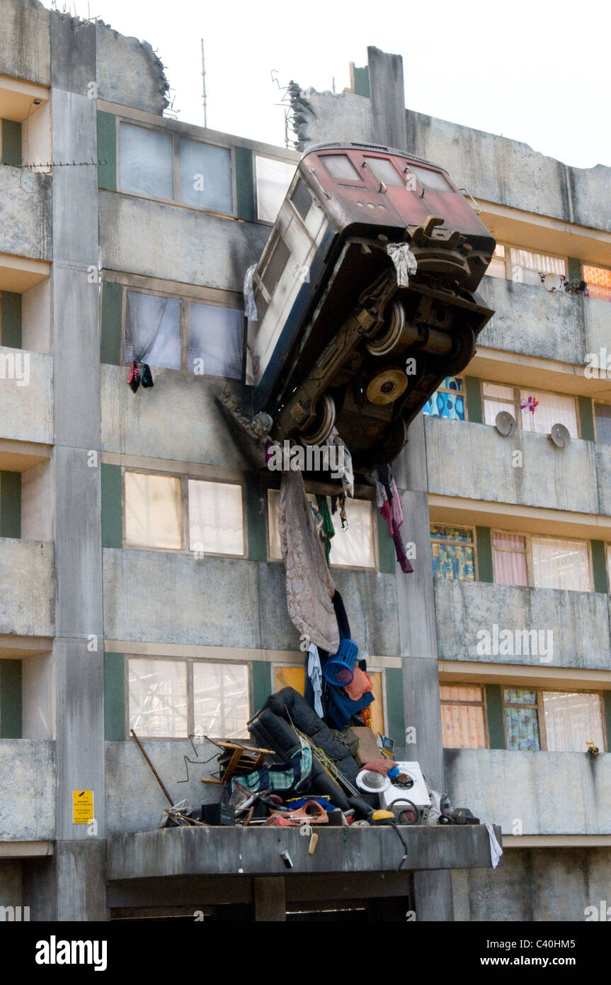 train crash sculpture block flats poster painting mural 3d stock photo royalty free image. Black Bedroom Furniture Sets. Home Design Ideas