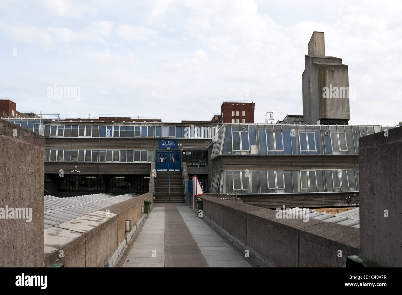 brutalist style architecture of old pimlico academy school main