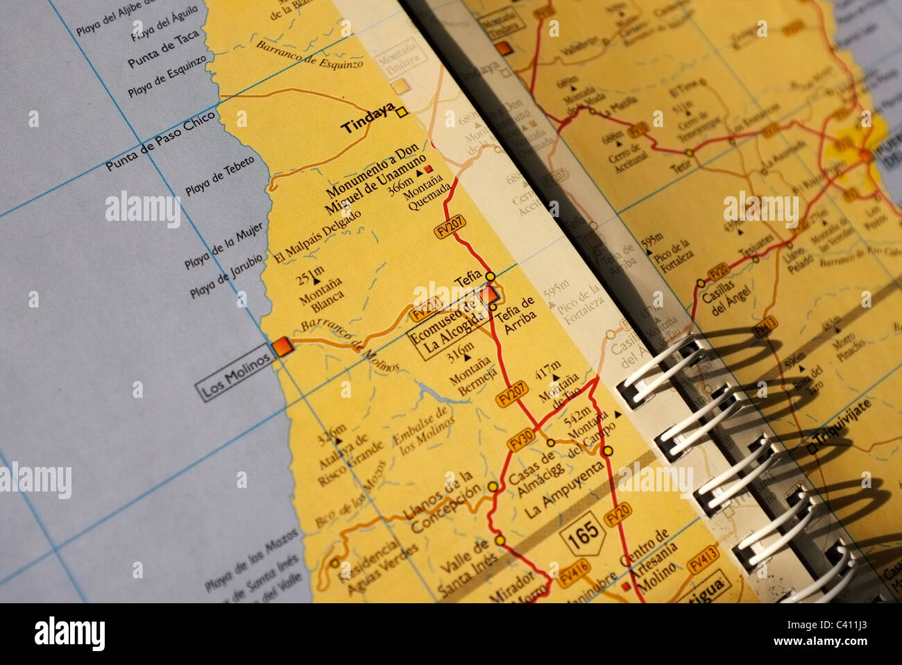close up of a road map of Fuerteventura Canary Islands Stock Photo