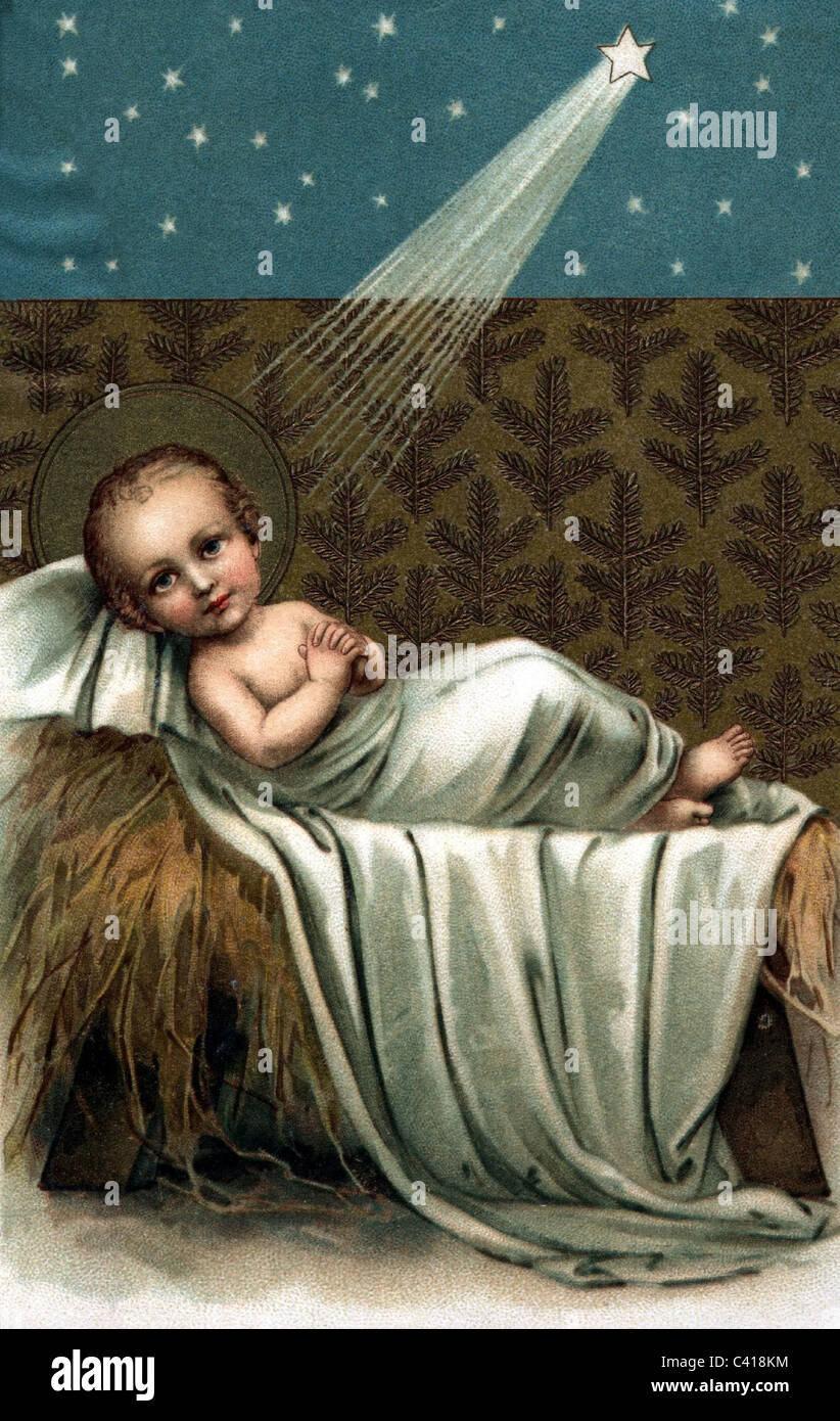 religion kitsch illustration of baby jesus in his cradle with