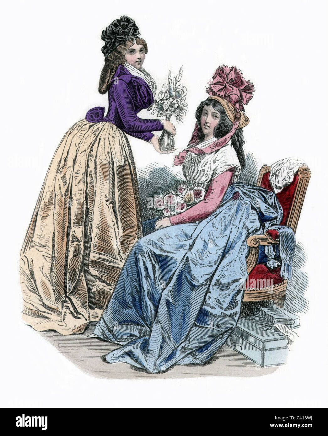 fashion ladie s fashion th century paris  stock photo fashion ladie s fashion 18th century paris 1790 coloured engraving 19th century historic historical women woma