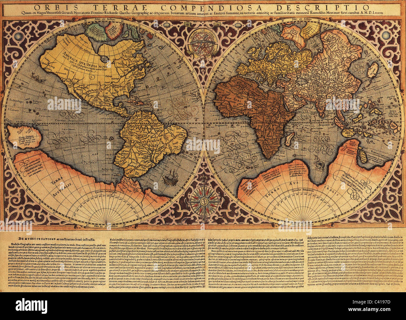 Cartography maps of the world world map by rumold mercator from cartography maps of the world world map by rumold mercator from atlas sive cosmographicae meditationes de fabrica mundi et f sciox Choice Image
