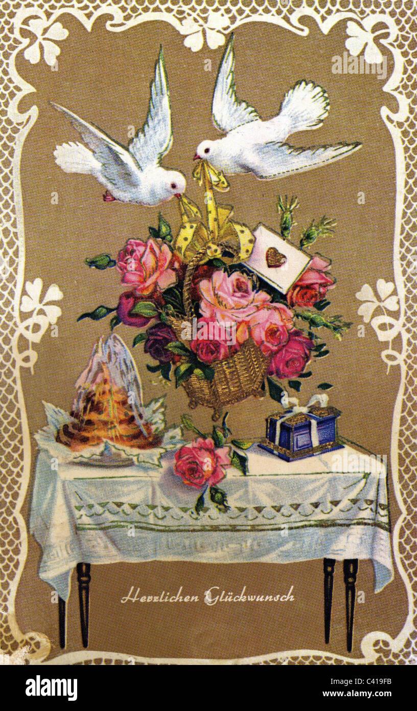 Festivity birthday doves bringing flowers greetings card circa festivity birthday doves bringing flowers greetings card circa 1950s 50s 20th century historic historical kitsch prese bookmarktalkfo Images