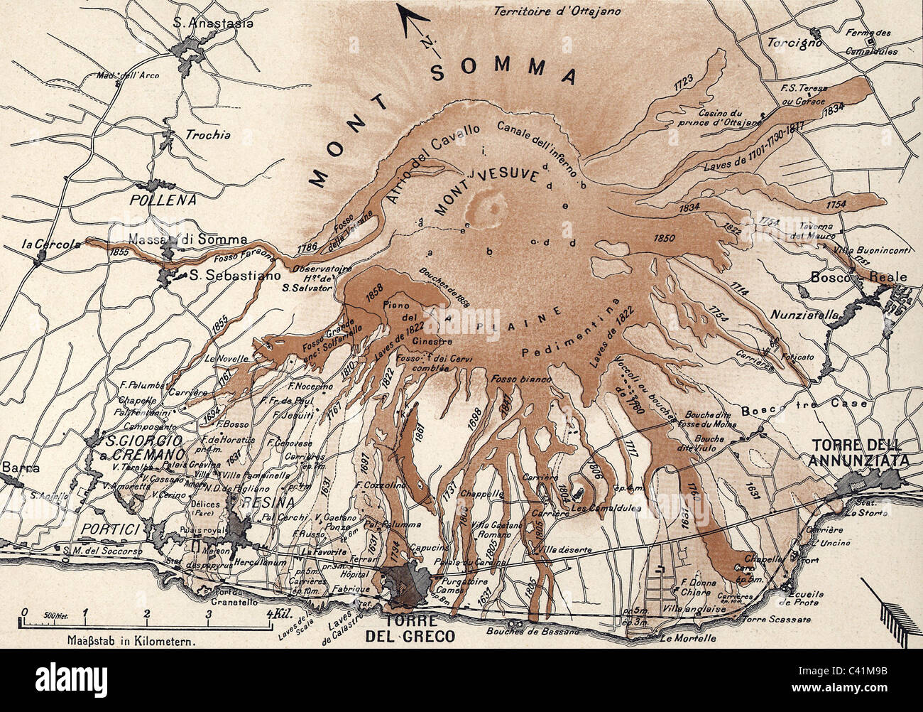Disasters Volcanos Mount Vesuvius Map Of Lava Flows In The Year - Mount vesuvius map