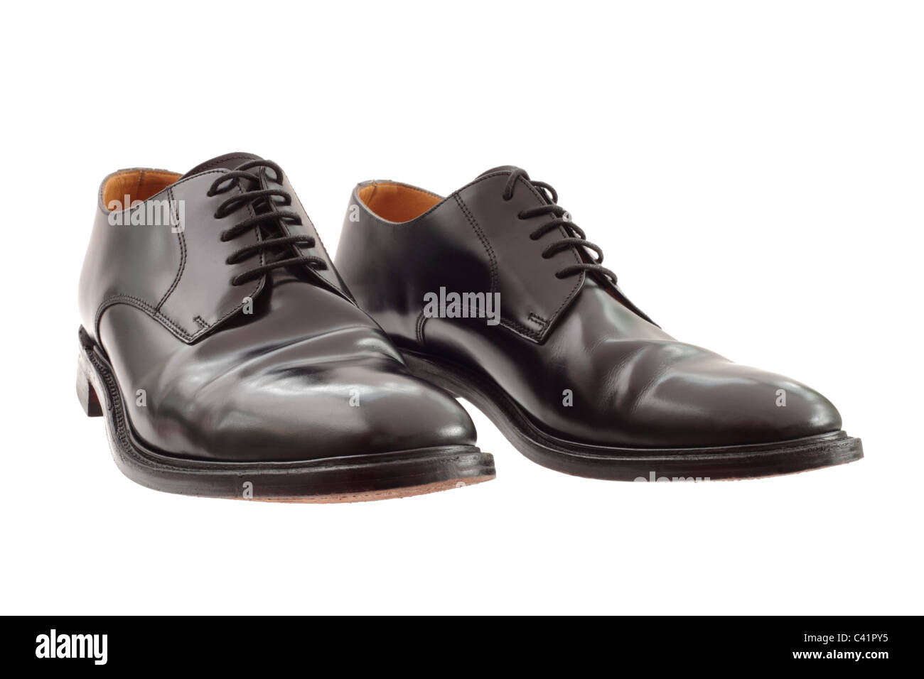 a pair of mens size 9 polished black leather shoes with